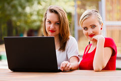Girls with Laptop Stock Image