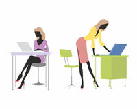 Girls with laptops Royalty Free Stock Photography