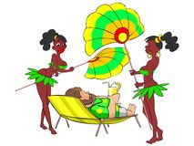Girls with large fans. Illustration. Man, lying on a chair with cocktail in hand, surrounded by two attractive African girls. Isolated vector illustration