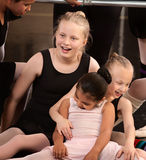 Girls Laughing at Ballet Class Stock Photo