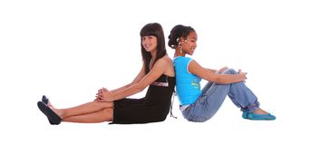 Girls Leaning Back On Each Oth Stock Photos