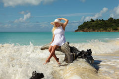 Girls legs tuched by wave Stock Photography