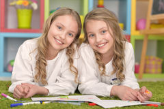 Girls  on lesson of art. Portrait of Cute girls  on lesson of art Stock Photography