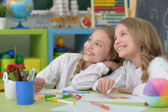 Girls  on lesson of art Stock Photos