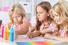 Girls  on lesson of art Stock Images