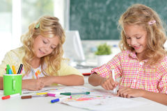 Girls  on lesson of art Stock Photography