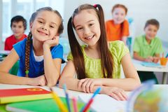 Girls at lesson Royalty Free Stock Image