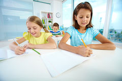 Girls at lesson royalty free stock photo
