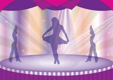 Girls on lilac stage. Contour of girls on lilac stage vector illustration