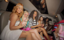 Girls in limo royalty free stock images