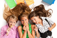 Girls with lollipop Royalty Free Stock Photos