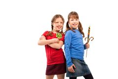 Girls in lollipop pose Stock Image