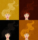 Girls with long hair Royalty Free Stock Photos
