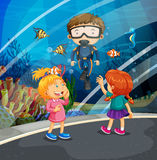 Girls looking at fish and diver in the aquarium. Illustration Royalty Free Stock Photography