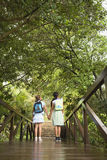 Girls Looking At Trees From Bridge Royalty Free Stock Image