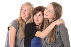 Girls looking up Royalty Free Stock Image