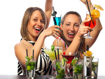 Girls with a lot of cocktails Royalty Free Stock Photos