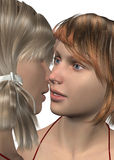 Girls in Love - 3D Stock Photo