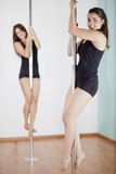 Girls love pole fitness class Royalty Free Stock Photography