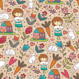 Girls Love Rabbits Cute Seamless Pattern Royalty Free Stock Photo