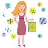 Girls love shopping. Cartoon Stock Photo