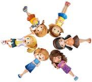 Girls lying in circle. Illustration Stock Photo