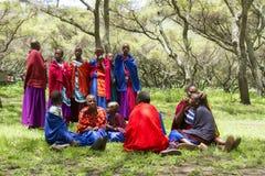 Girls in Maasi Village preparing for ceremony, Ngorongoro Conser Royalty Free Stock Photography