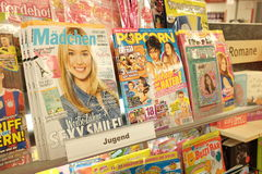 Girls magazines in germany. Girls magazines in a german newsstand with some selective focus Royalty Free Stock Images