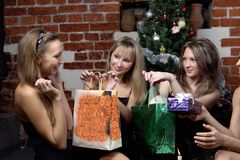 Girls make a present Stock Photo