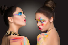 girls. make-up colour paint painting, Stock Photo
