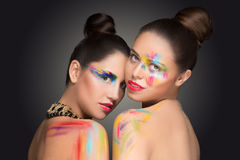 girls. make-up colour paint painting, Stock Photography