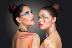 girls. make-up colour paint painting, Stock Images