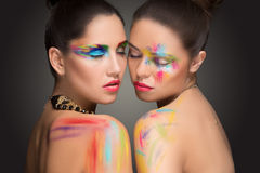 girls. make-up colour paint painting, Royalty Free Stock Photo