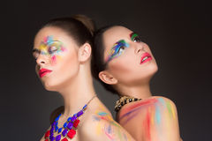 girls. make-up colour paint painting, Stock Photos