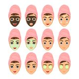 Girls with makeup and not wearing makeup, the facial mask cosmetic Royalty Free Stock Image