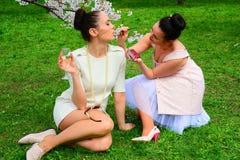Girls makeup in Vilnius city sakura's garden Stock Images