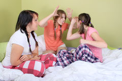Girls making funny faces Royalty Free Stock Photos