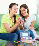 Girls making handmade accessories Royalty Free Stock Photo