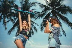 Girls making photos Royalty Free Stock Photo