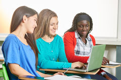 Girls making research at school Stock Image