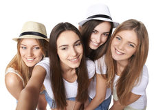 Girls making self portrait with a smartphone Royalty Free Stock Image
