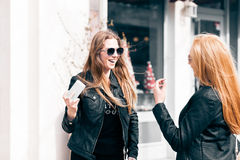Girls making a selfie with the cellphone outside Royalty Free Stock Image