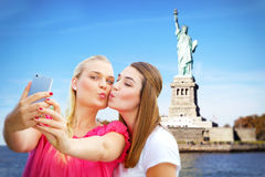 Girls making a selfie in in New York Stock Images