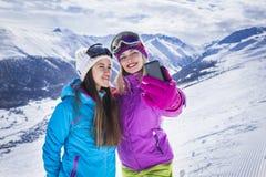 Girls are making selfie photo ski resort Stock Photography