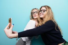 Girls are making selfie stock photography