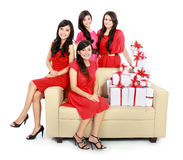 Girls with many gift boxes Royalty Free Stock Photos