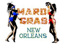 Girls at Mardi gras. Girls in a bikini dance at disco party Stock Images