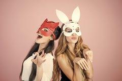 Girls in masks. Dominant, mistress, bdsm, erotic rabbit mask. Dominant, lesbian women love relationship superhero royalty free stock images