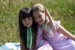 Girls on meadow Stock Photography
