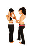 Girls measuring stomach. Stock Photography